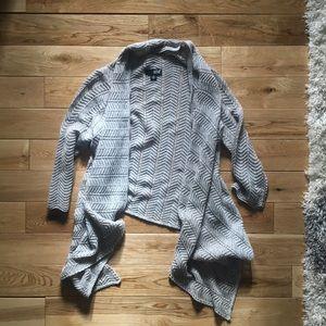 Gray silver metallic 3/4 sleeve cardigan